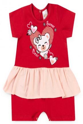 macacao vermelho menina ursinho