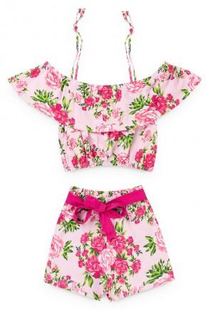 conjunto juvenil menina croped short rosa