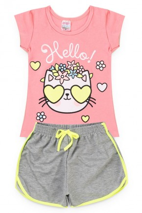 conjunto rosa gato piradinhos